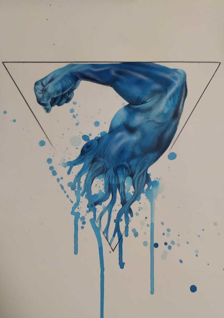 Bicipite con dropping colore blu